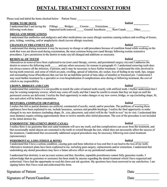 Dental Patient Informed  Consent Form