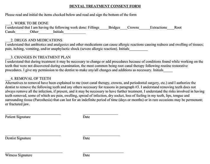 Dental Treatment Consent Form PDF