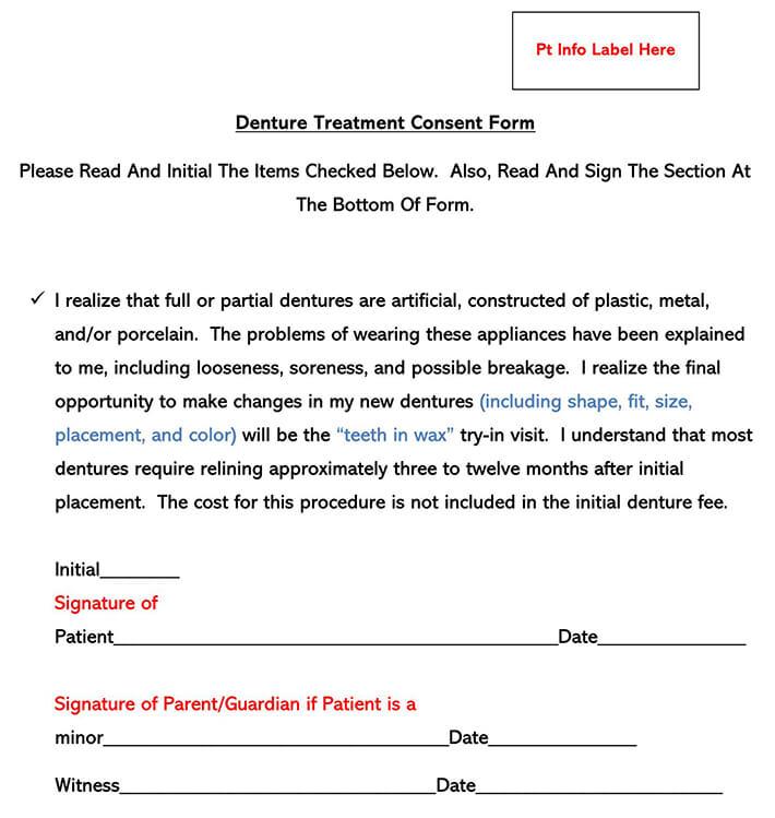 Denture Treatment Consent Form