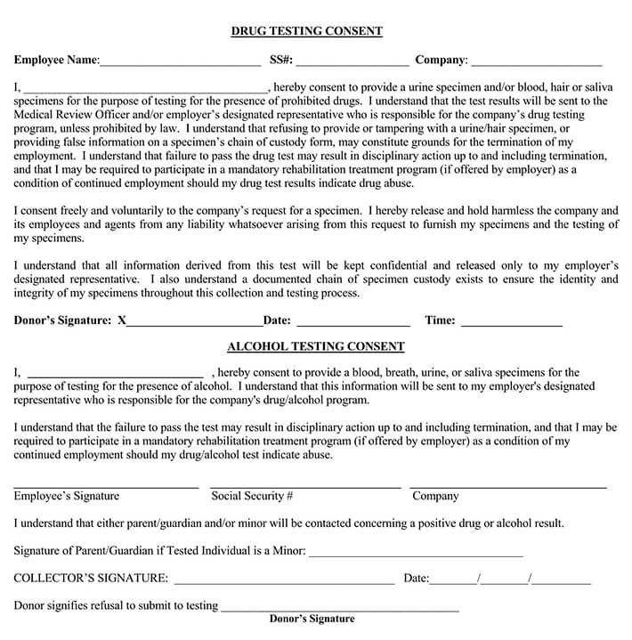 Drug Alcohol Testing Consent Form