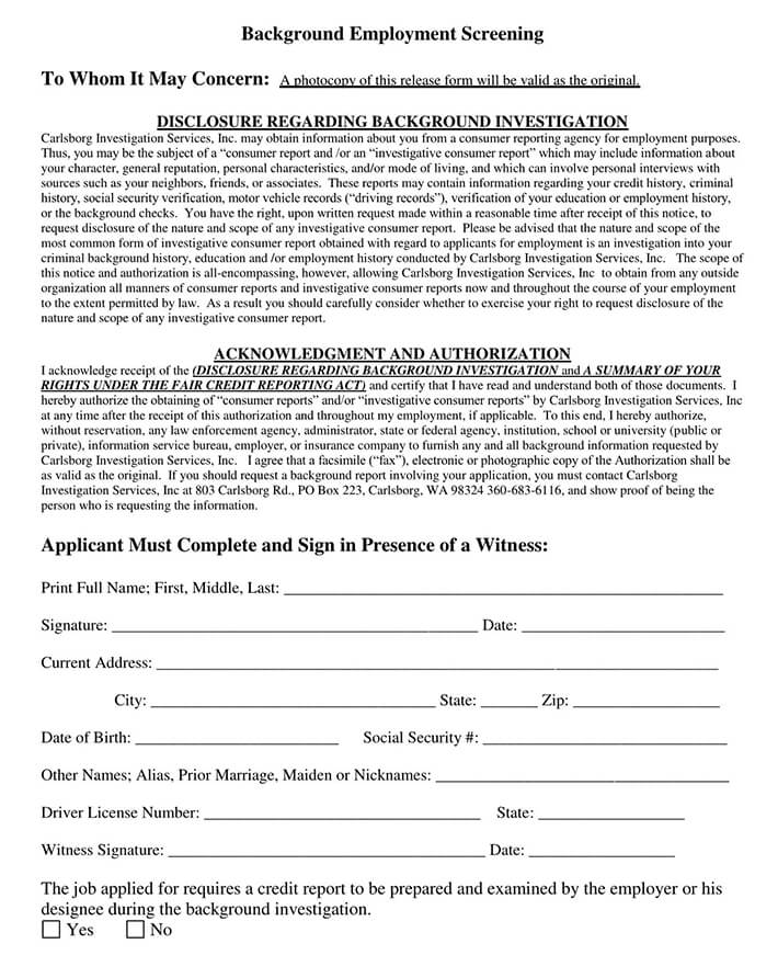 Employee Background Screening Form