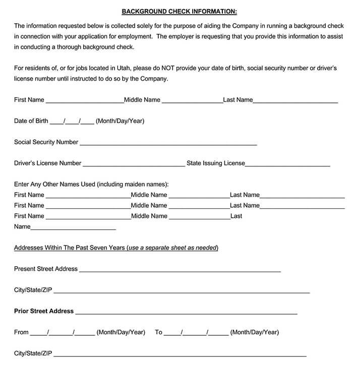 Employement Background Check Authorization Form