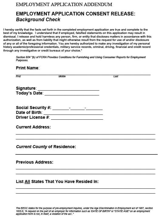 Employment Background Check Consent Form