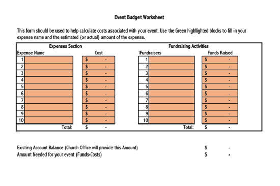 free event budget template google sheets 2
