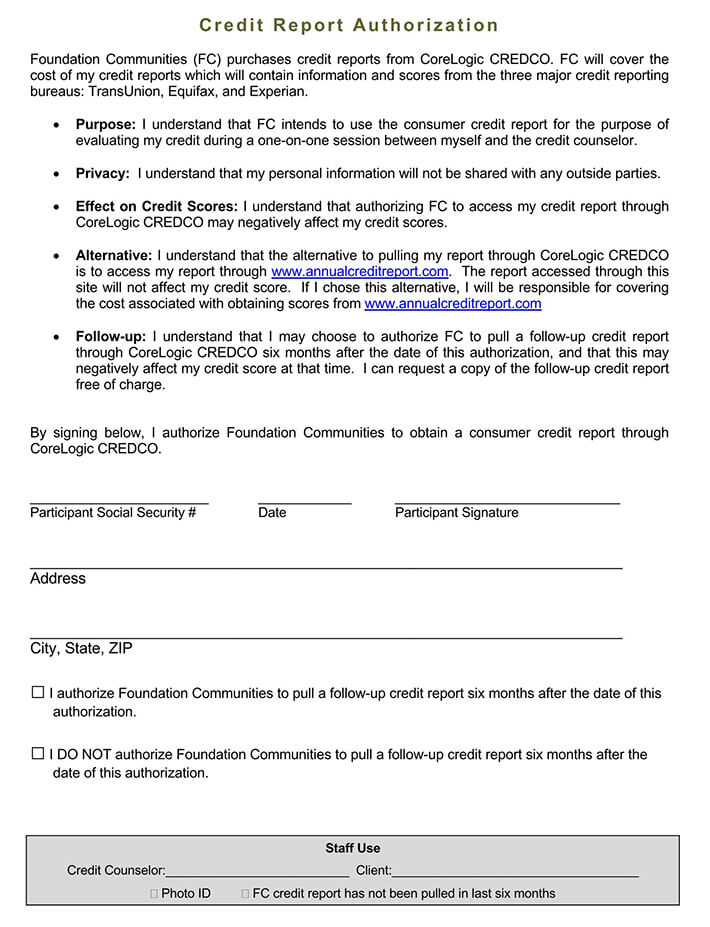 Example Consent Form for Credit Report