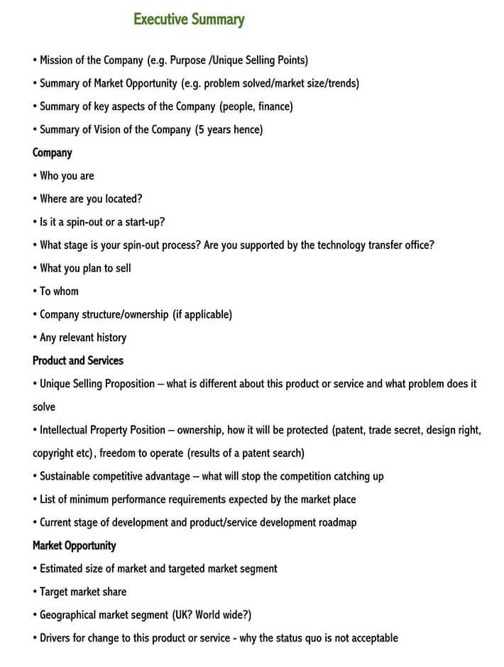 executive summary outline 1