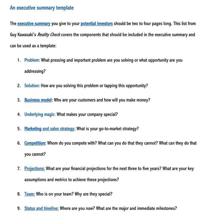 executive summary template pdf 2