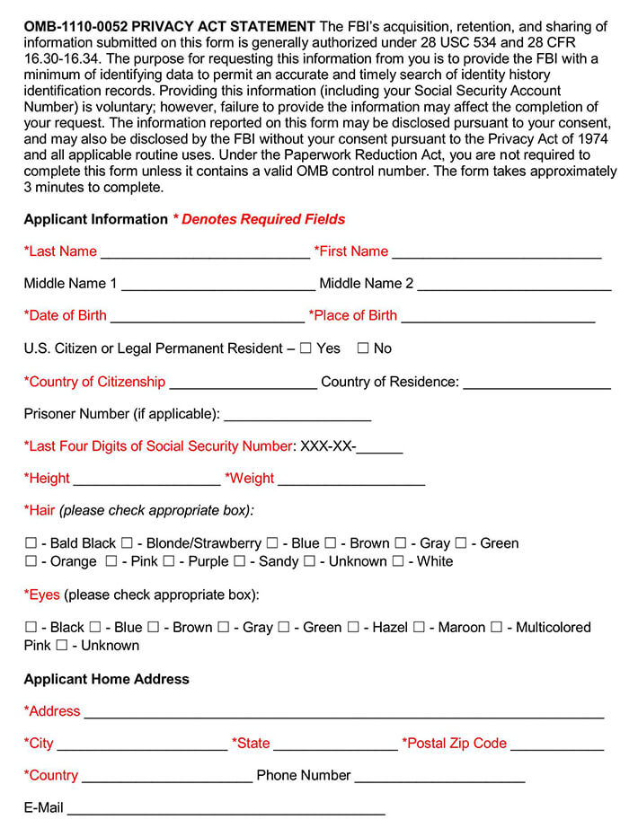 FBI Background Check Forms Packet