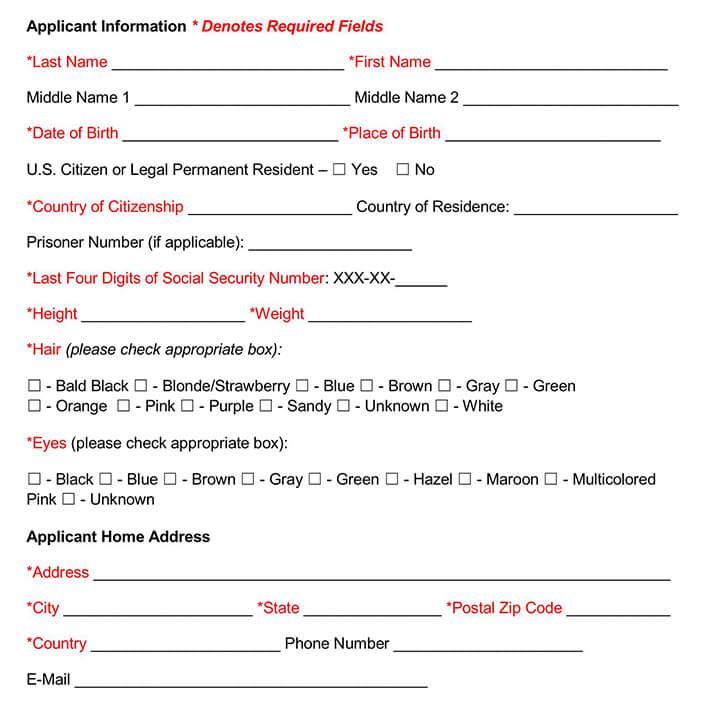 FBI Criminal Background Check Form