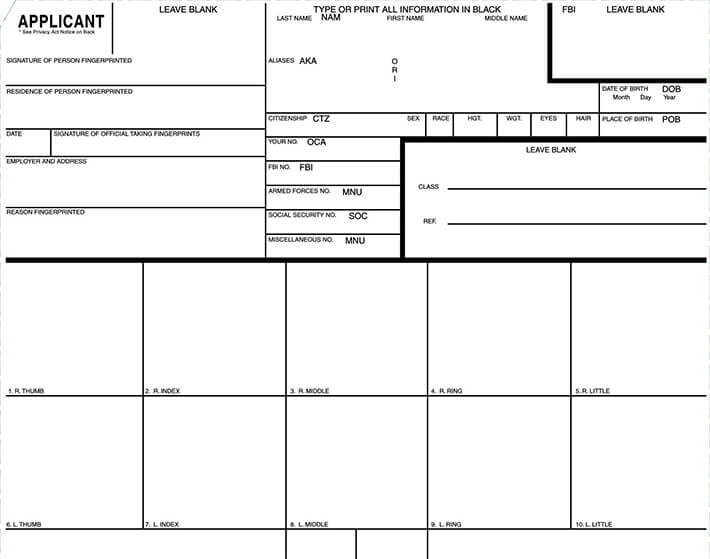 FBI Fingerprint Form FD-258