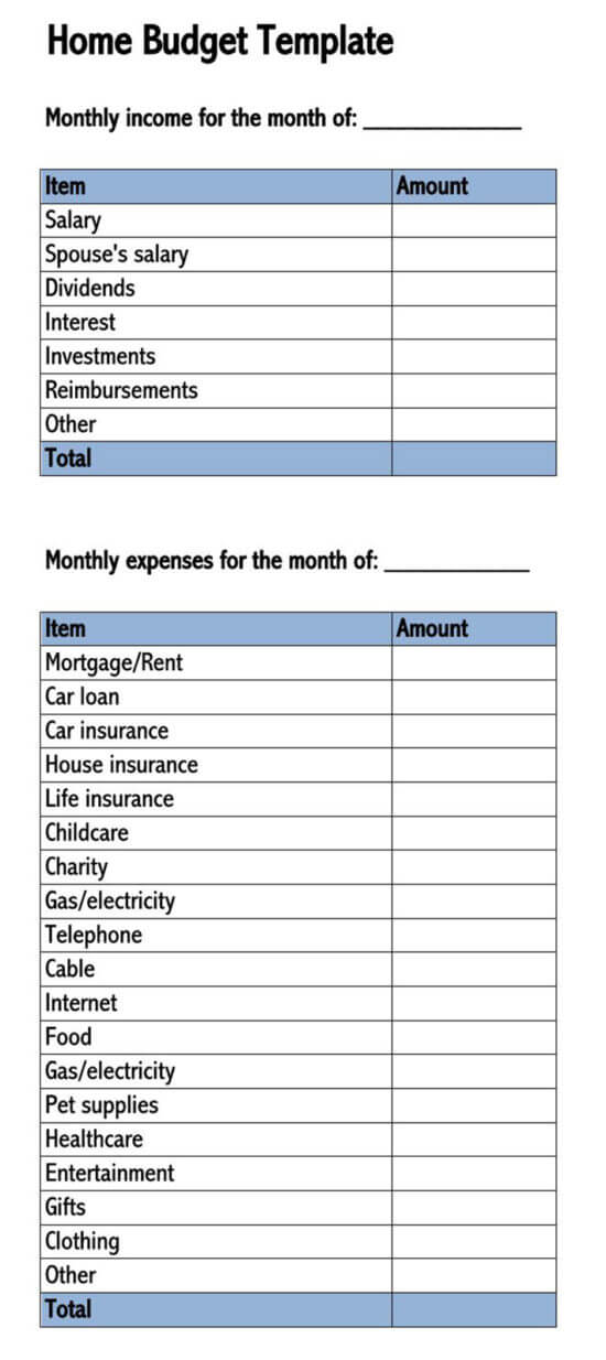 household budget template google sheets