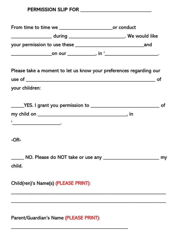 Field Trip Consent Form 08