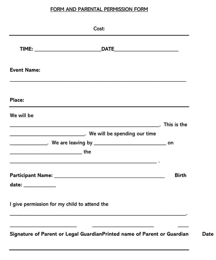 Field Trip Consent Form 12