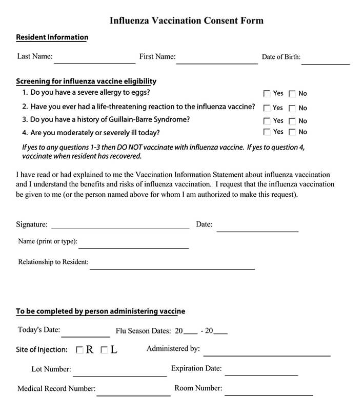 Fillable Influenza Vaccination Consent Form