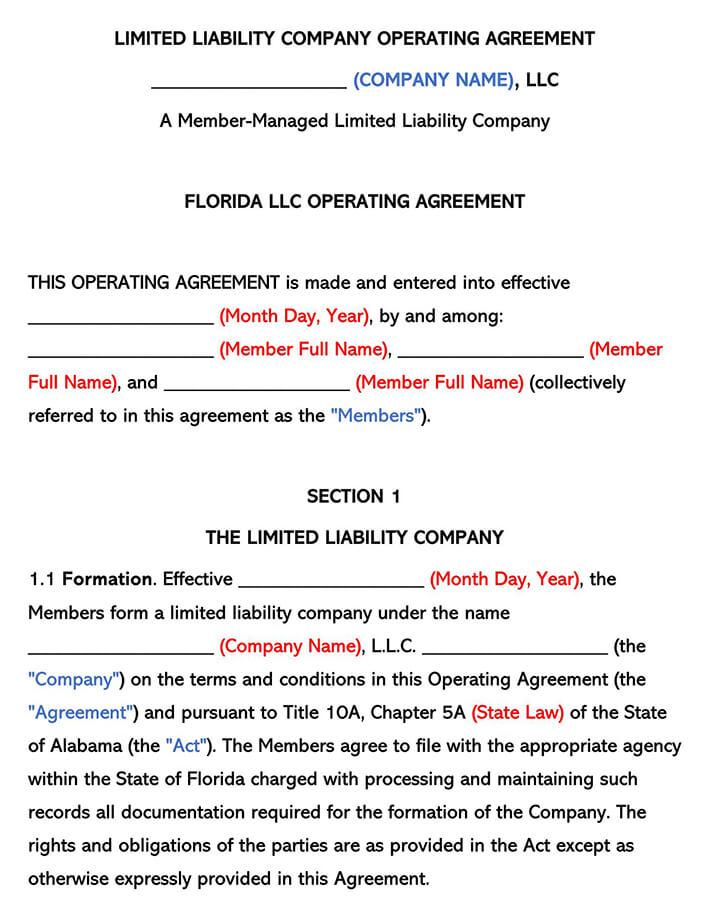 Florida LLC Operating Agreement
