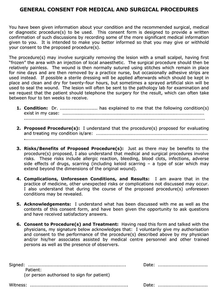 General Consent for Medical Surgical Form