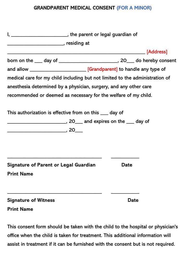 Grandparent Minor Child Medical Consent Form
