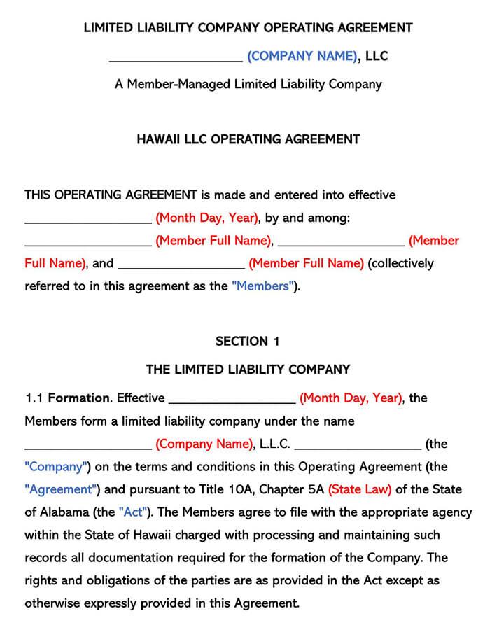 Hawaii LLC Operating Agreement