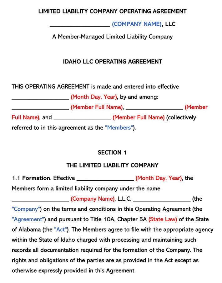 Idaho LLC Operating Agreement