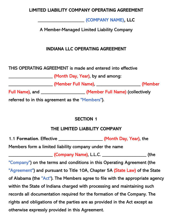 Indiana LLC Operating Agreement