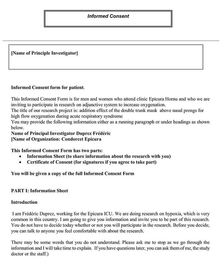 Informed Consent Form for Patient