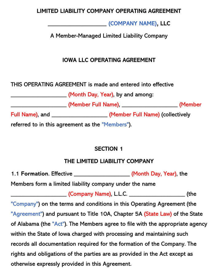 Iowa LLC Operating Agreement