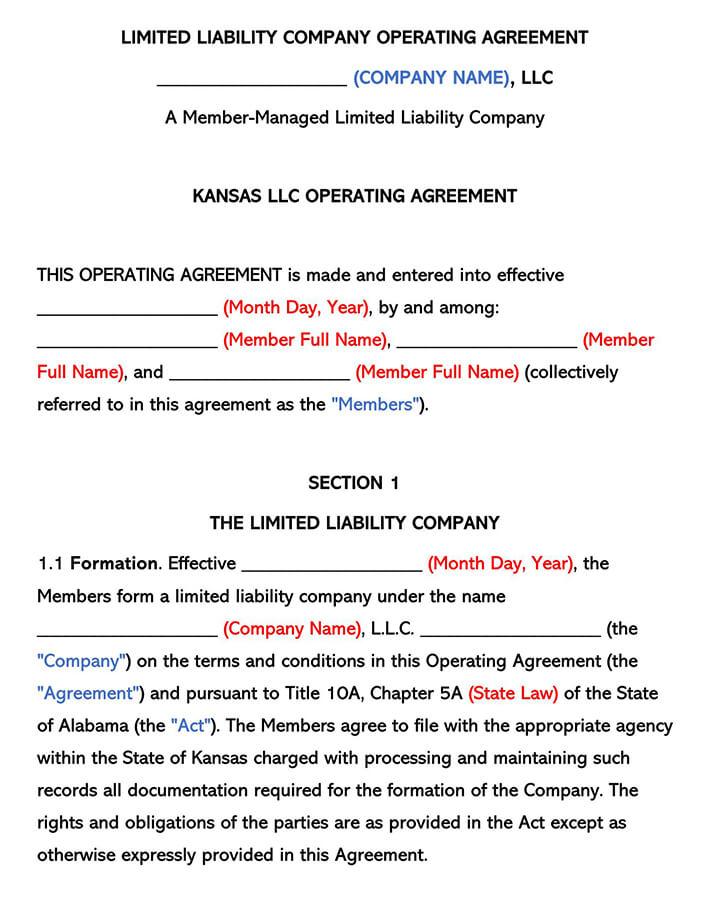 Kansas LLC Operating Agreement