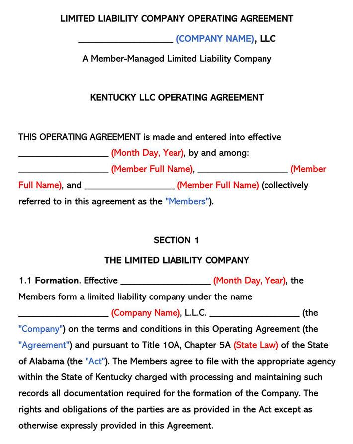 Kentucky LLC Operating Agreement