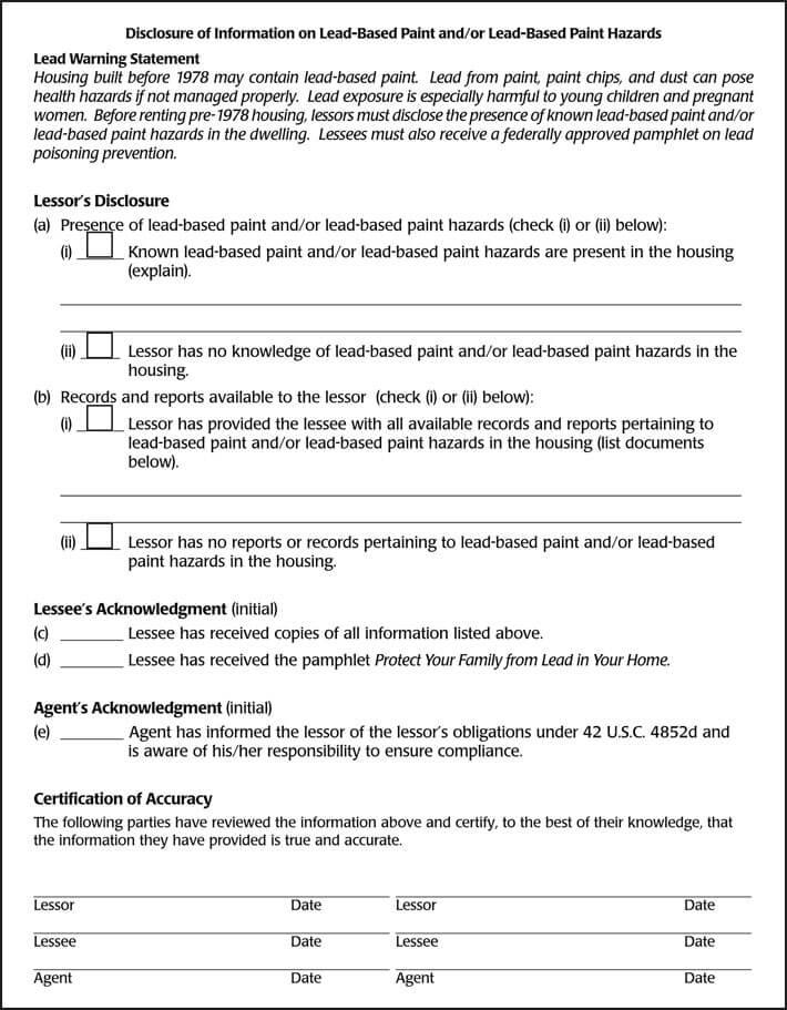 Lead-Based Paint Disclosure Form Free Download