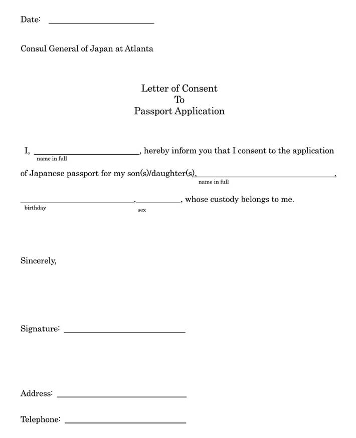 Letter of Consent to Passport Application