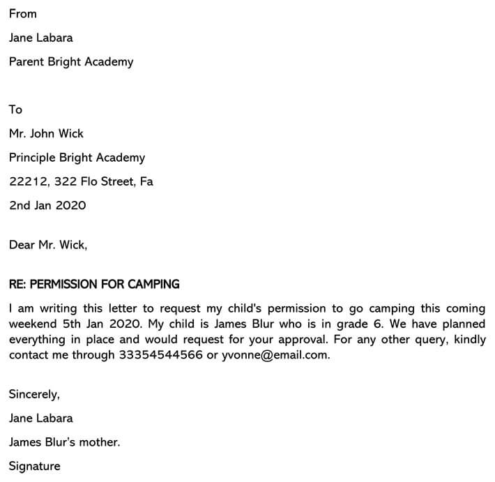 Permission Letter To Principal To Go Camping Sample Letters