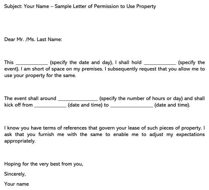 Letter of Permission To Use Property (Email Example)