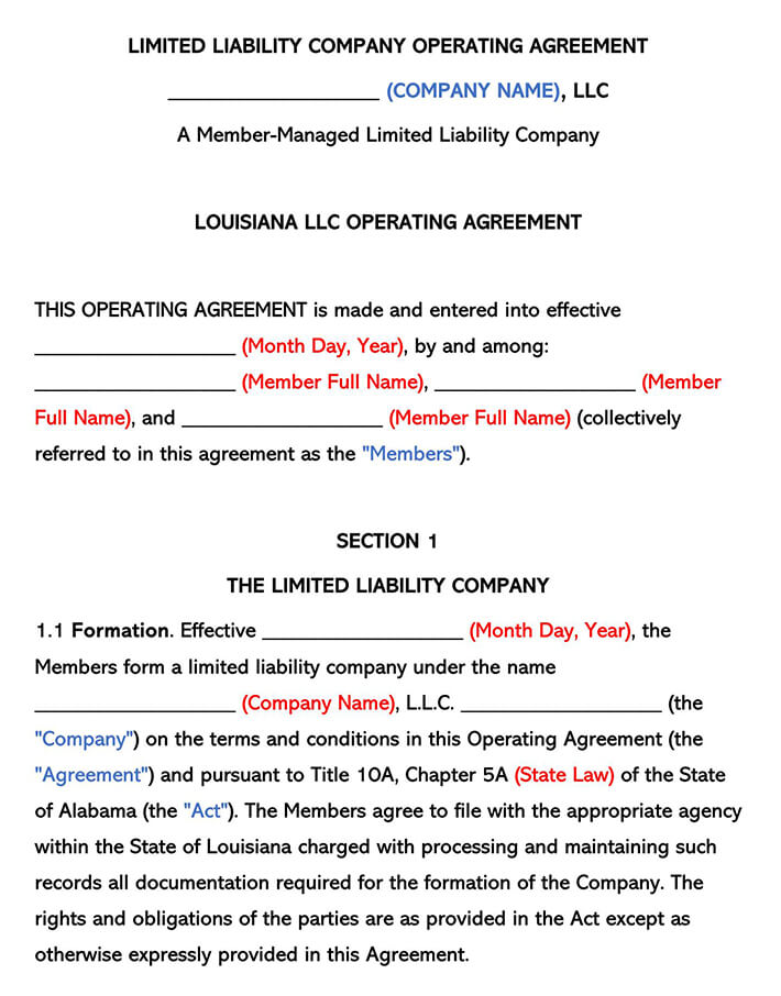 Louisiana LLC Operating Agreement