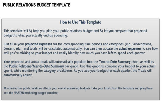 marketing budget template excel 2
