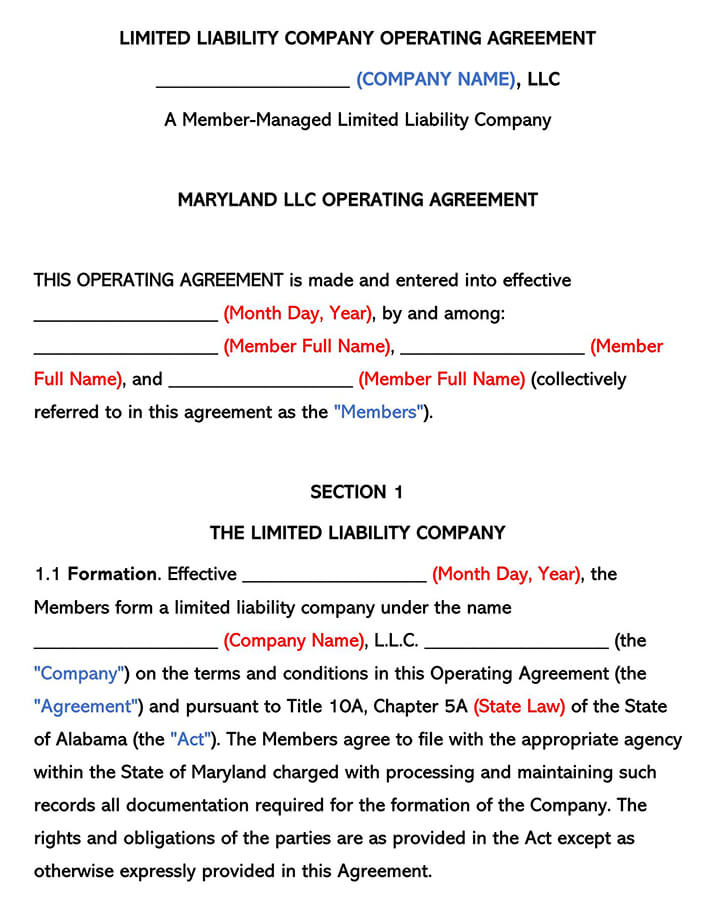 Maryland LLC Operating Agreement