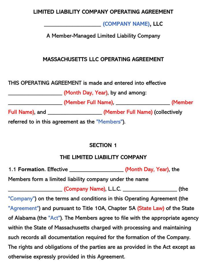 Massachusetts LLC Operating Agreement
