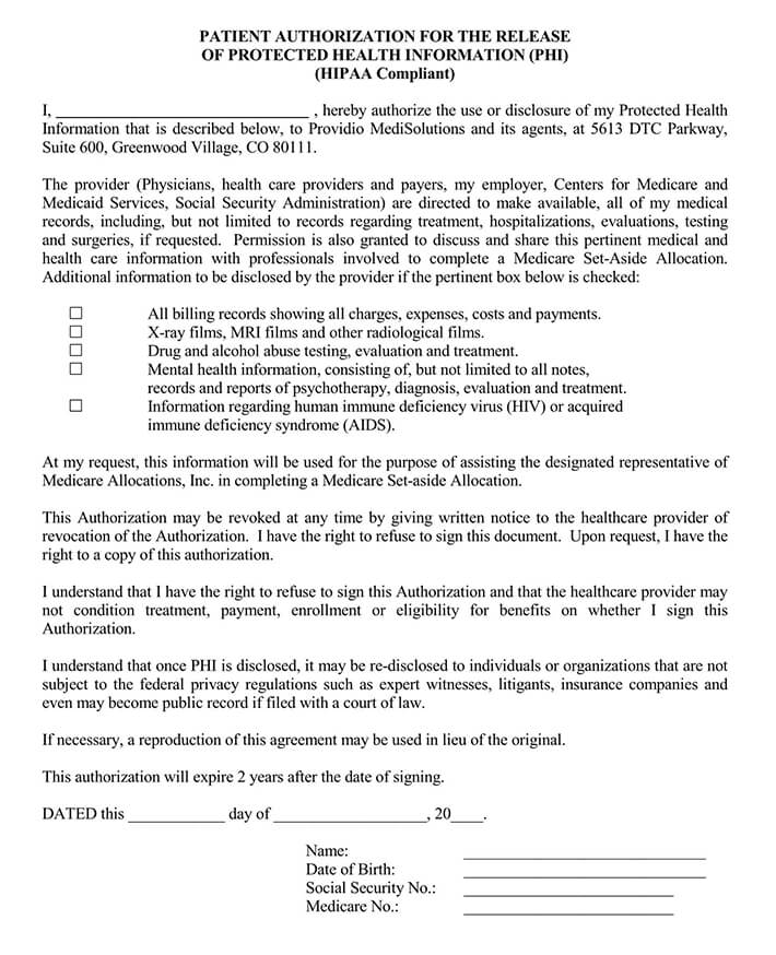 Medical Care Record Consent Form