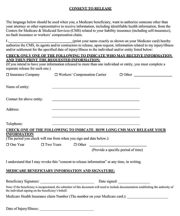 Medicare Consent to Release Form