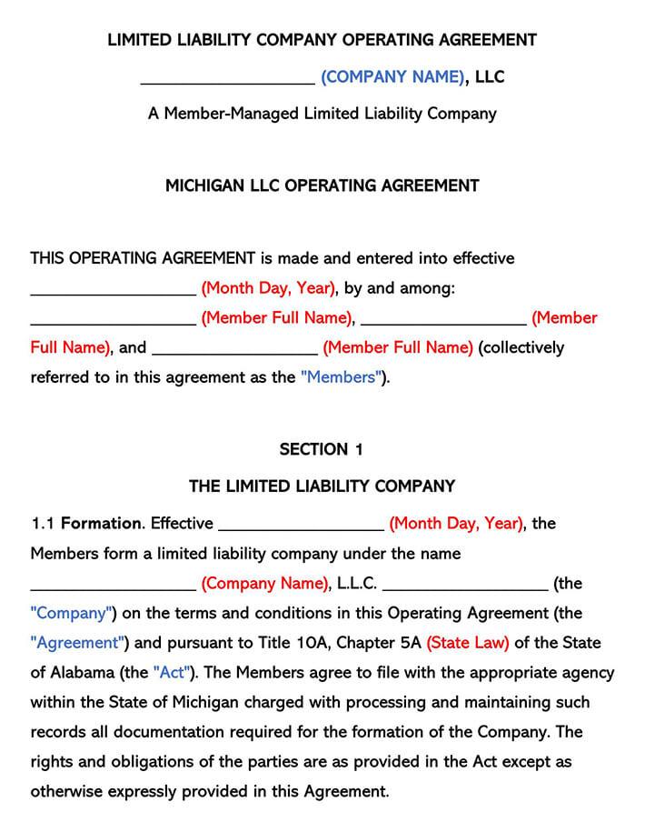 Michigan LLC Operating Agreement
