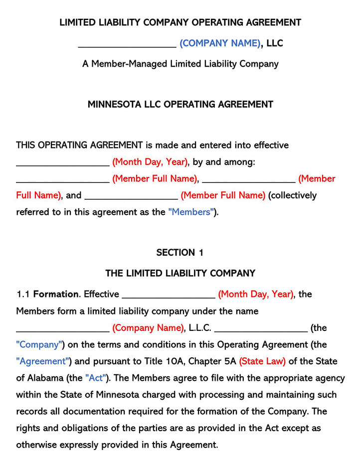 Minnesota LLC Operating Agreement