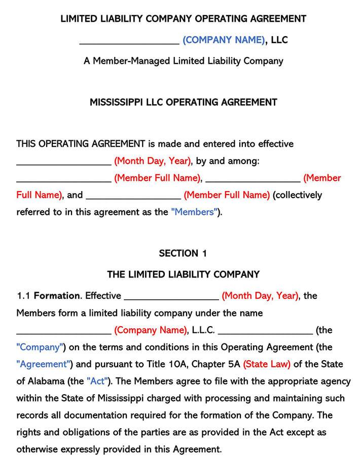 Mississippi LLC Operating Agreement