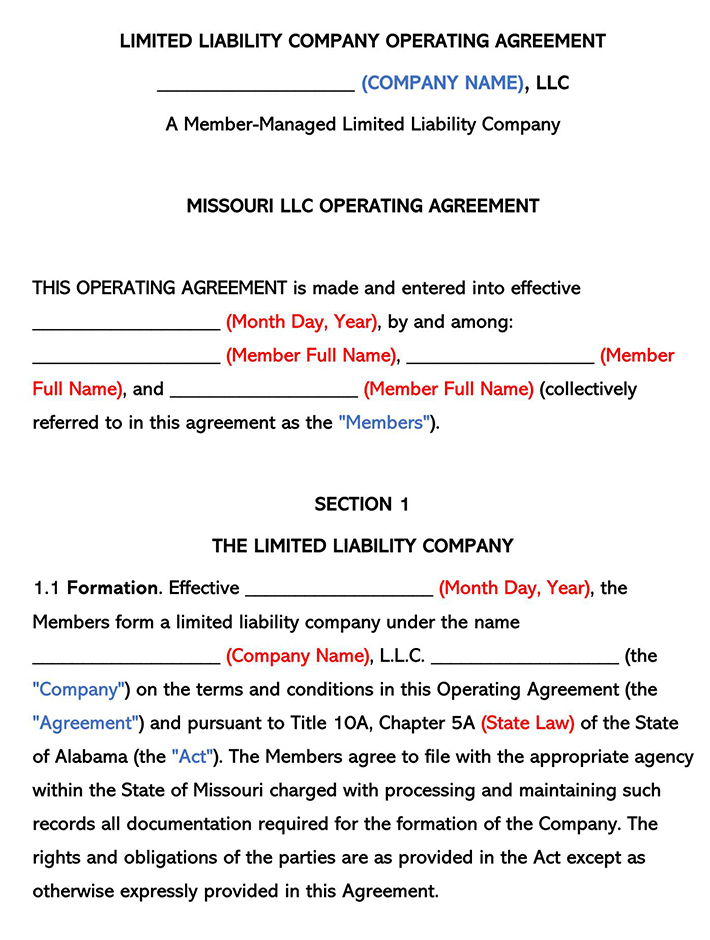 Missouri LLC Operating Agreement