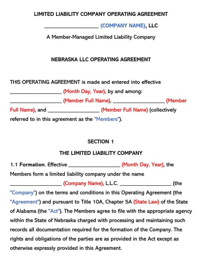 Nebraska LLC Operating Agreement