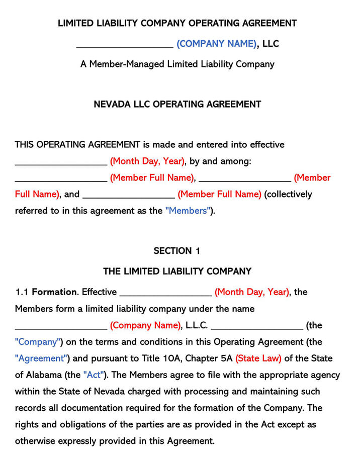 Nevada LLC Operating Agreement