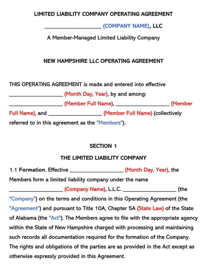 New Hampshire LLC Operating Agreement