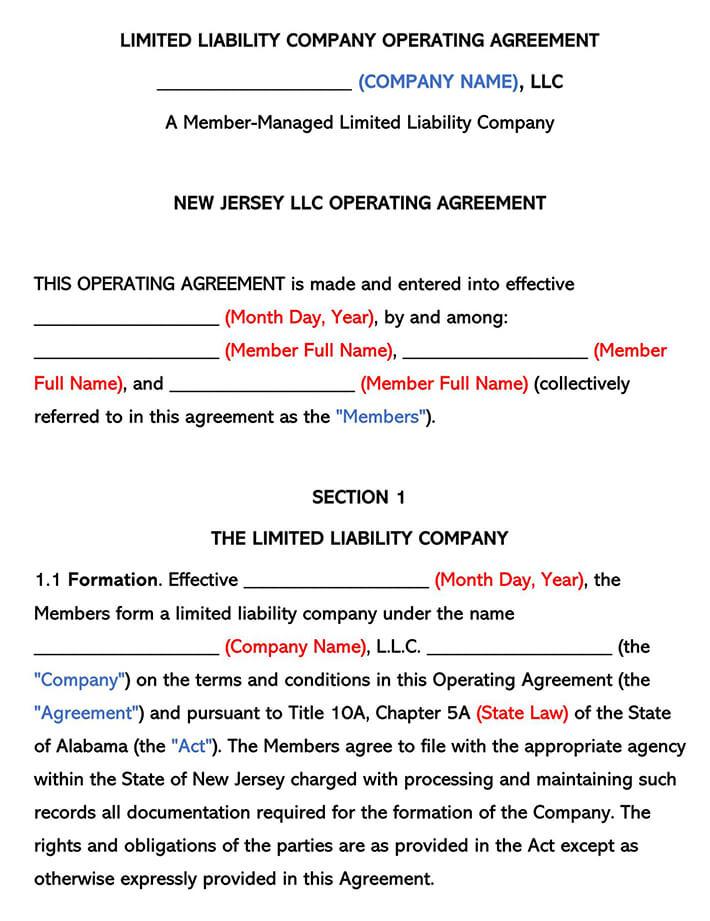 New Jersey LLC Operating Agreement