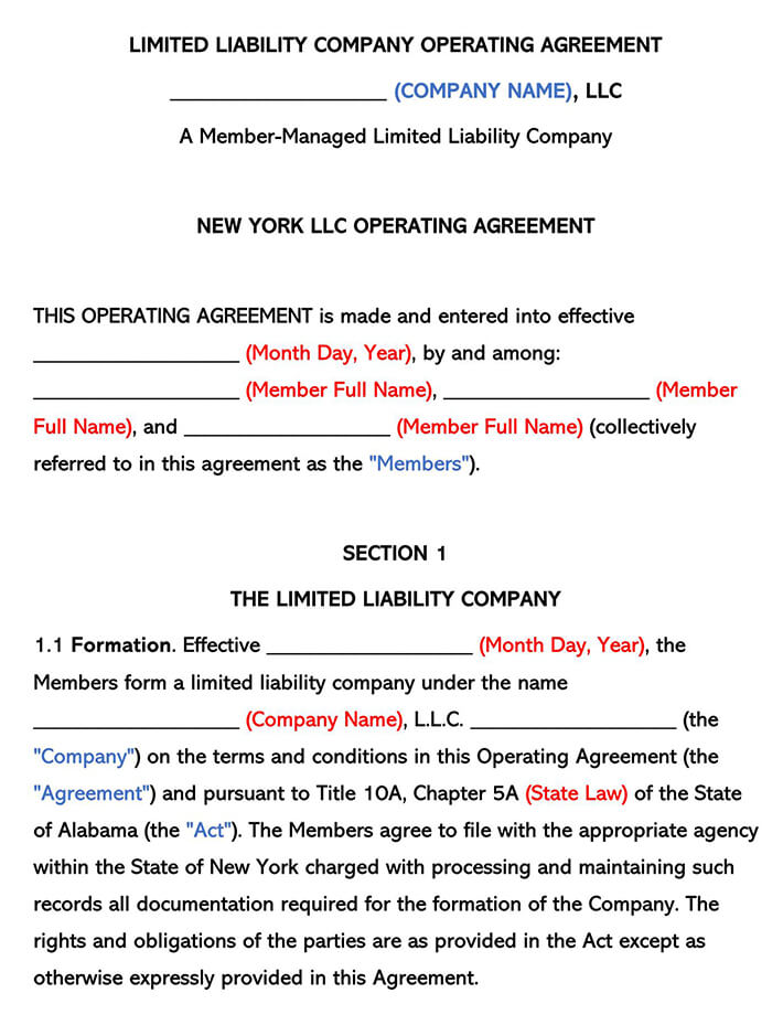 New York LLC Operating Agreement
