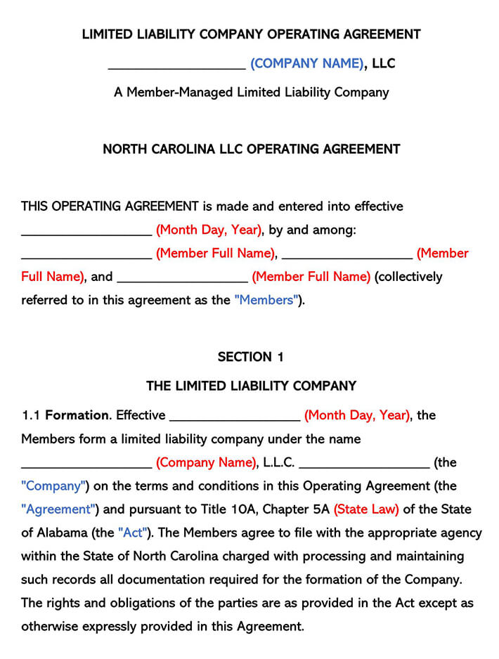 North Carolina LLC Operating Agreement