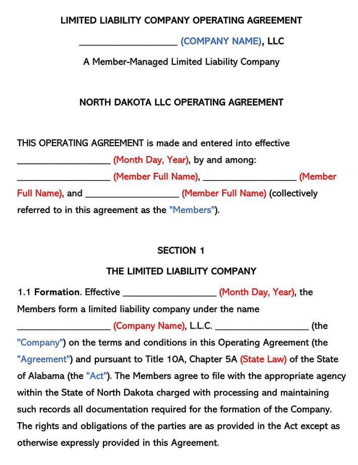 North Dakota LLC Operating Agreement