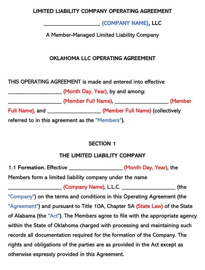 Oklahoma LLC Operating Agreement